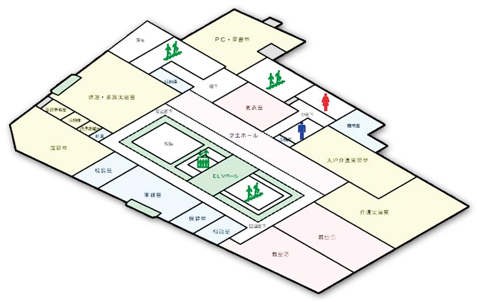 しらかわ介護福祉専門学校3階フロア案内図